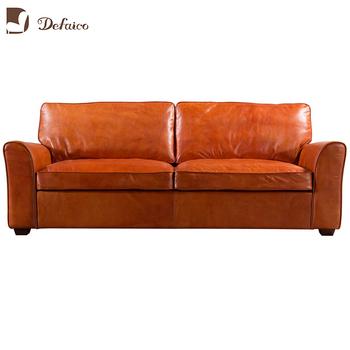 Living Room Furniture Orange Color Genuine Leather Sofa Set - Buy Genuine  Leather Sofa Set,Living Room Furniture Sofa,Orange Leather Sofa Product on  ...