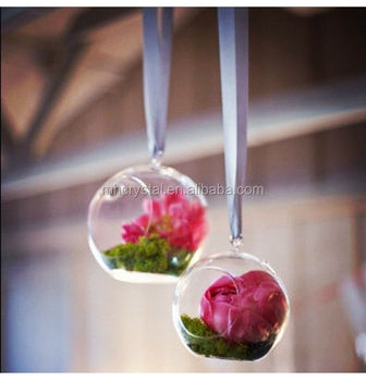 Glass Round Hanging Ball With Flowers And Plants Inside Mh 12624