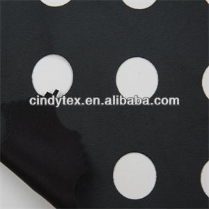0.65mm black big round hole punched imitation cow 100%pu knit backing pu leather