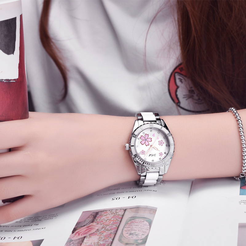 2019 New Fashion Ceramic Band Women Watches Luxury Pink Flower Print With Diamond Dial Dress Watches