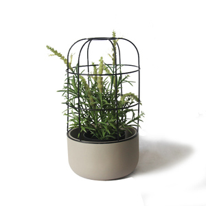 Indoor small natural concrete base metal decoration plant container pot