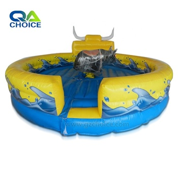 Outdoor Sport Games Inflatable Mechanical Rodeo Bull, Inflatable Mechanical Bull Riding Toys With Red Eyes