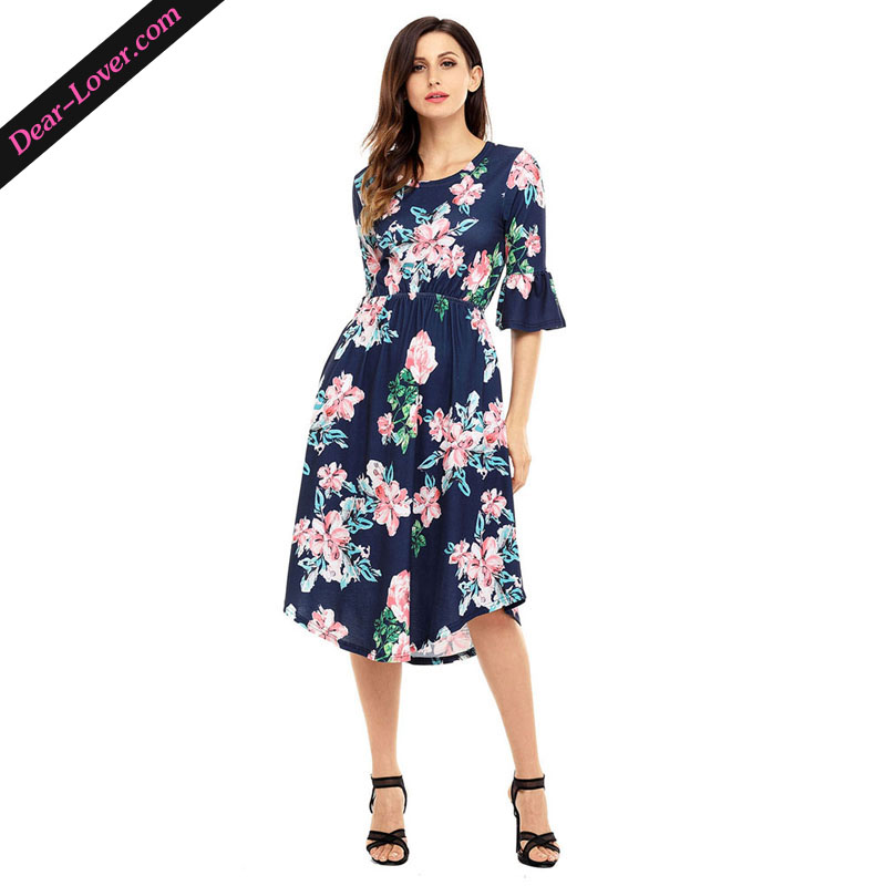 Navy Blue 3/4 Bell Sleeve Floral Bangkok Vestidos Dress