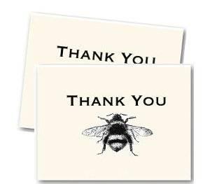 """Artist Designed, Hand Made """"Thank You"""" Cards - Cards Are Beautifully Finished With Detailed Vintage Bee Image / Matching Envelopes"""