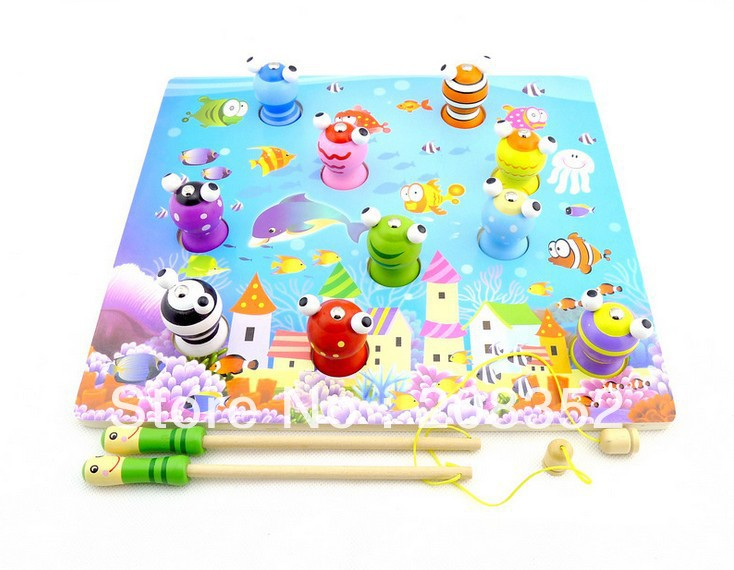 New arrival colorful educational wooden toy magnetic fishing wooden children 0-3 years old baby and intellectual puzzle toys