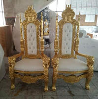 Gold throne king and queen chair wedding chairs