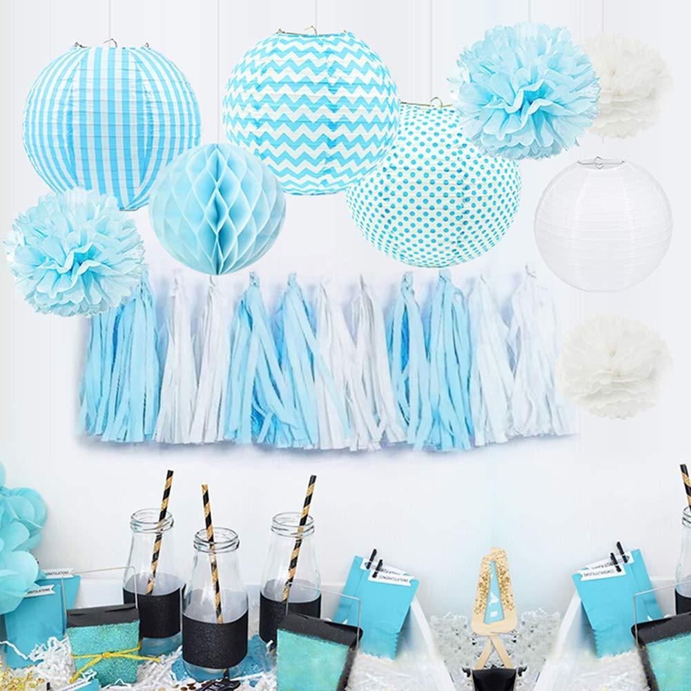 Get Quotations HappyField Baby Boy Shower Decorations Birthday Party Tissue Pom Poms Paper Lanterns