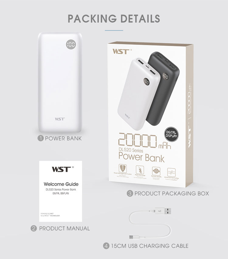 Shenzhen WST newest micro & type-c dual usb cell phone power bank 20000mAh portable