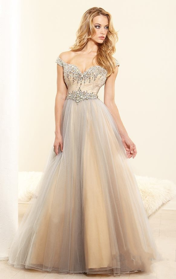 5318a4240de Get Quotations · Free Shipping 2014 Sweetheart Prom Dresses With Cap  Sleeves Tulle Crytal Ball Gown Evening Dress N545
