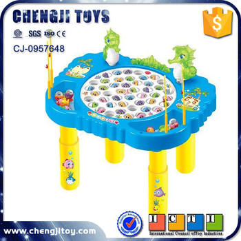 Kids indoor play electronic revolving fish toy table for Electronic fishing game