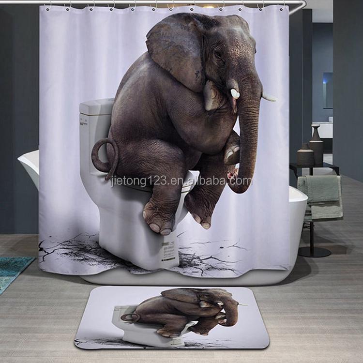 De alta calidad de cortina de ducha de poliéster estera impermeable personalizado baño Cortina de ducha