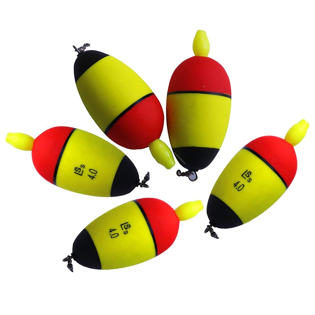 LSERVER 10pcs Collection Fishing Bobber Cork Float Lighted Balsa Wood Fish Tackle Colorful Tool