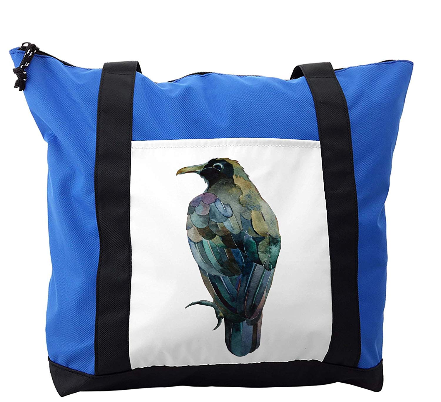 Lunarable Raven Shoulder Bag, Watercolor Painting Bird, Durable with Zipper