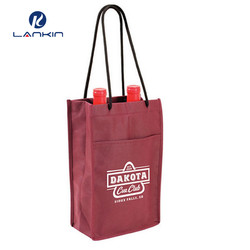 100% customized logo printing reusable 6 bottles divided non woven wine drink carry bags