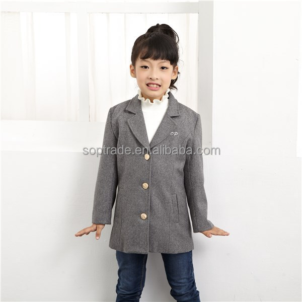Kids winter clothes child girls elegant wear wool trench coat