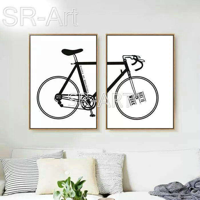Classical Style Canvas Painting Decorative of Living room Office and Bedroom Sofa Background Mural Painting of Bicycle Guitar
