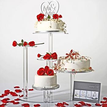 4 Niveaux Petit Gâteaux Présentoir En Plastique Rond Empilé Cupcake Dessert Tour Clair Acrylique à Plusieurs Niveaux Support De Gâteau Pour La Fête De