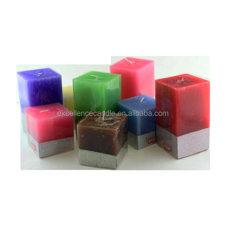 cambia color o cuadrado blanco pilar vela perfumada grandes fbrica al por mayor
