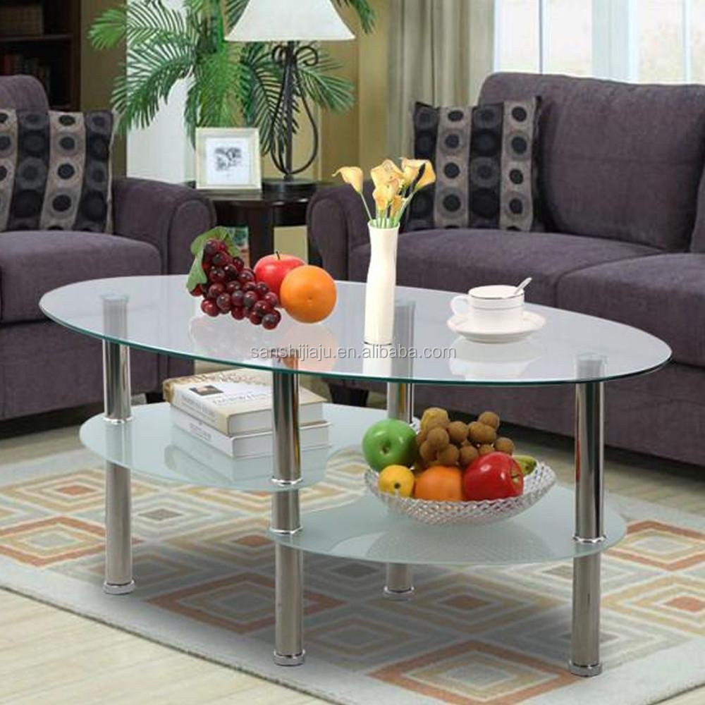 Simple Design Glass Top Tea Table Stainless Steel Tube ...