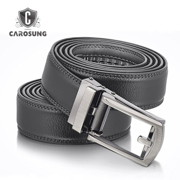 17c04ebeb Carosung Custom Men Split Leather Belt Automatic Buckle Micro Adjustable  Belts in Black And Brown 32mm