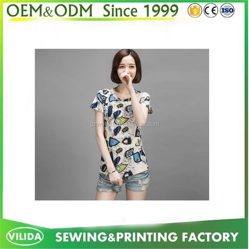 OEM sublimation digital printing women Popular design custom your own logo t shirts