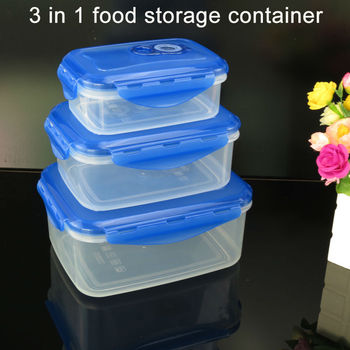 Bpa fee 3 piece Food Storage Containernesting Set With Vacuum Seal