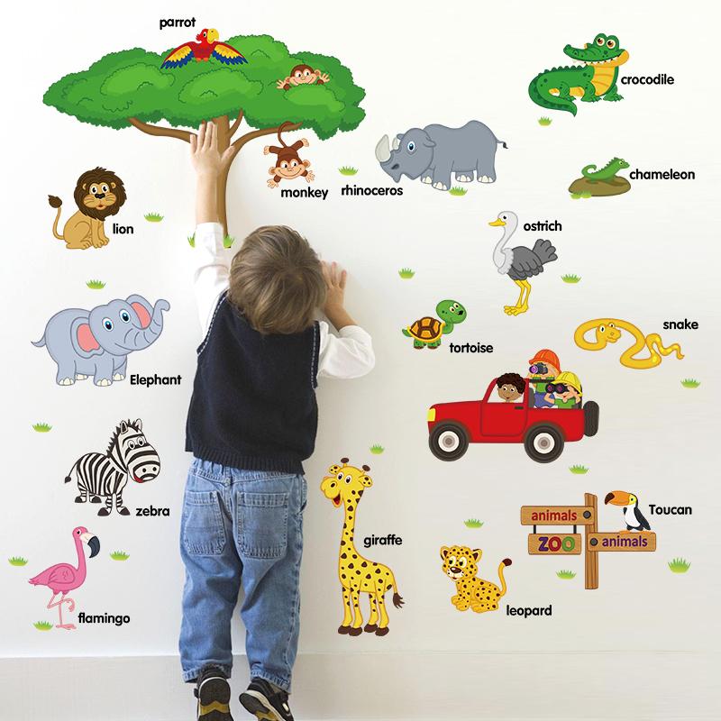 YIYAO 장식 키즈 벽 데칼 포함 다채로운 기린, 사자 및 호랑이 스티커