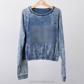 Cotton Custom Long Sleeve Sweatshirt Snow Wash / Acid Wash ...
