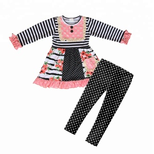 Black polka dots pants Children Boutique fall Clothing Sets Baby Girl Clothes