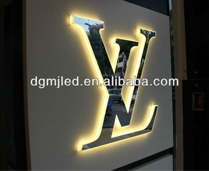 edelstahl led hintergrundbeleuchtung wei en vorne dekorative wand buchstaben elektronische. Black Bedroom Furniture Sets. Home Design Ideas