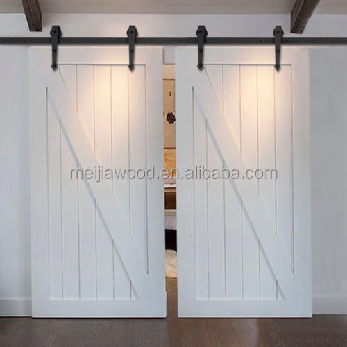 "Bi-pariting ""Z""Sliding Barn Wood Door with Hardware Antique American Country Style Steel"