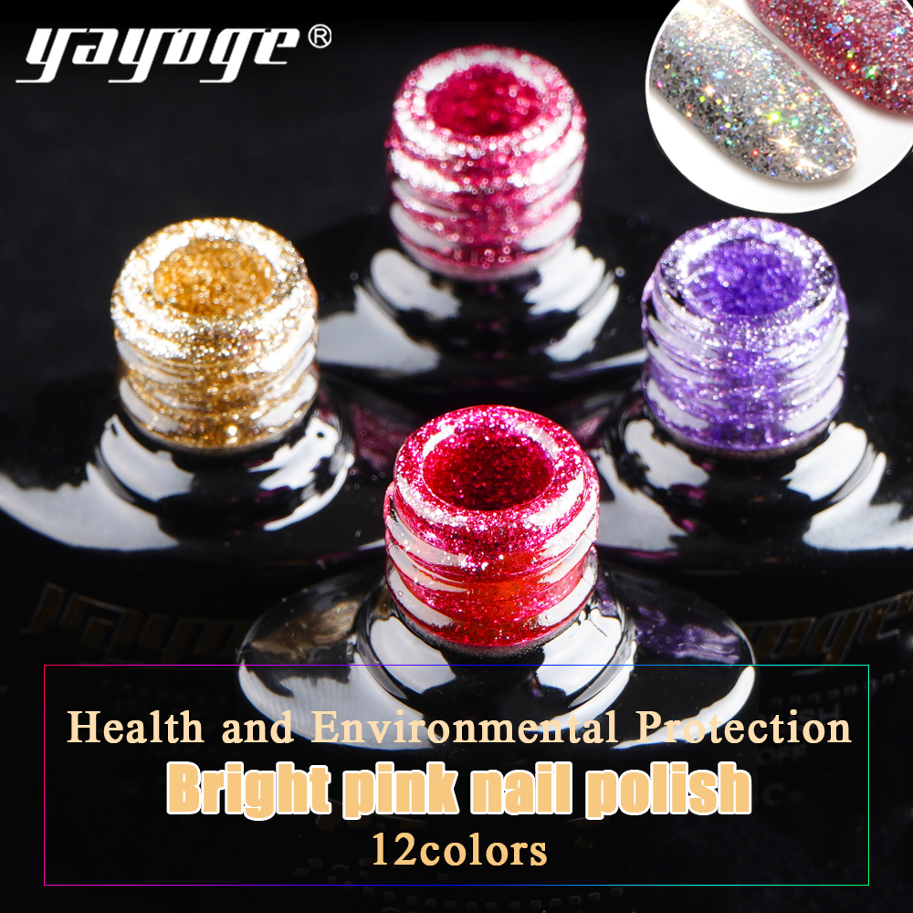Yayoge Platinum Nail Gel Polish 10ml Starry Sky Glitter Soak Off UV Gel Lacquer Diamond Bling Sequins Nail Art Varnish