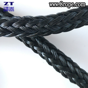 10 mm black 16 strand hollow braid rope polypropylene poly rope