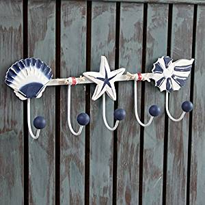 CCWY Mediterranean style wood 5 Marine hooks are linked and wall hangings coat hook key to