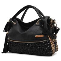 cz18044b New fashion handbags pu sequined decoration leopard famous brand handbags