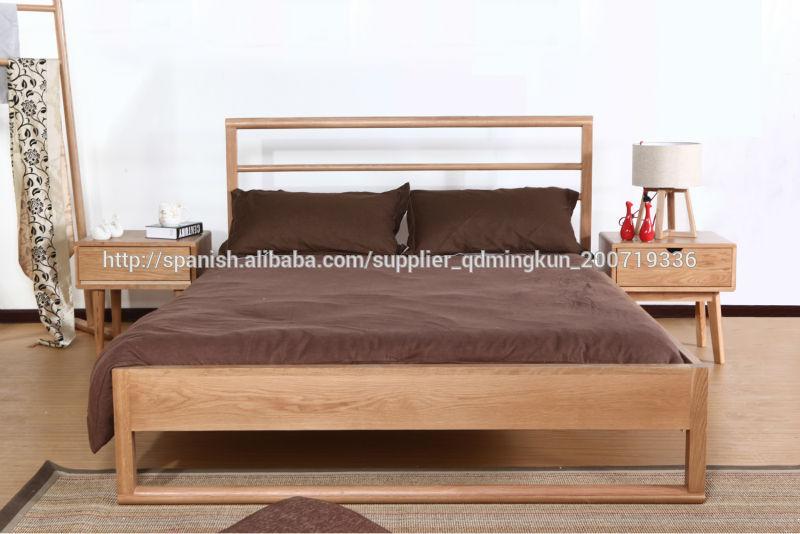 Cama de doble madera maciza roble de 1 2 1 5 1 8m camas de for Cama doble precio