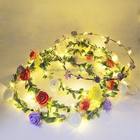 Hair accessories 2019 hot selling glowing girl flower crowns LED string light flower headband BP1528