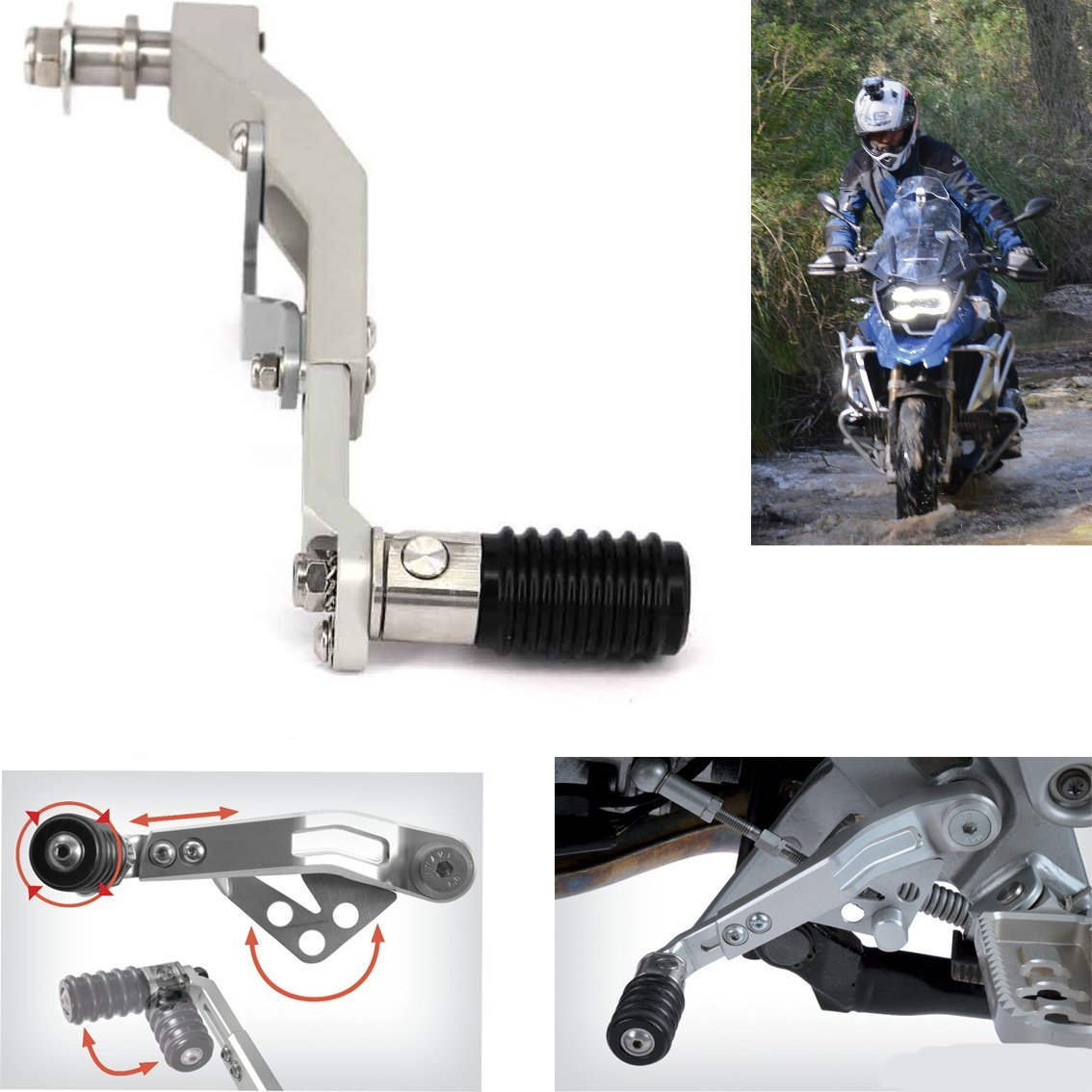 Motorcycle Silver /Black/Titanium Adjust Lever Gear Shift Lever For BMW R1200GS LC 13-16 R1200GS ADV 2014-2016 (Silver)
