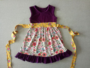 2016 baby girl summer fashion one-piece dress floral print kids cotton frocks design