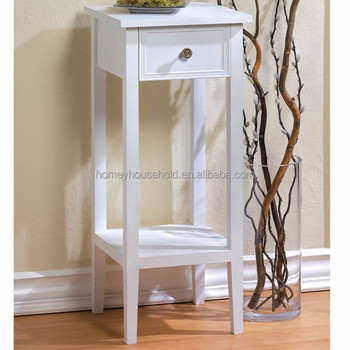 Home Garden Teak Wood White Plant Stand Artificial Flowers Orchid Plants