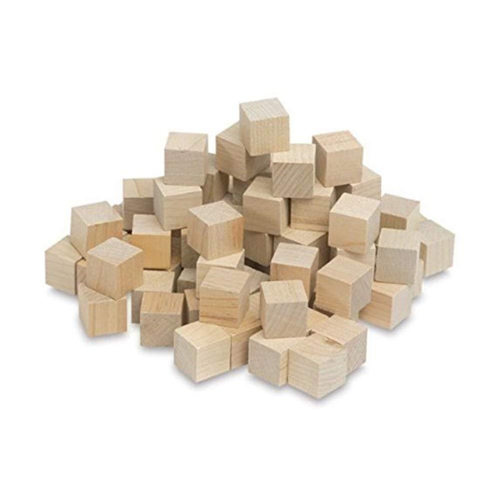 "3/4 Inch Wood Cubes, Natural Unfinished Craft Wood Blocks (3/4"") (Bag of 60) (Bag of 500)"