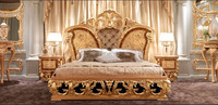 Golden Upholstery Queen Anne Bed, Luxury Wood Carved & Gold Painted Queen Bedroom Furniture, Vitoria Style King Size Bed