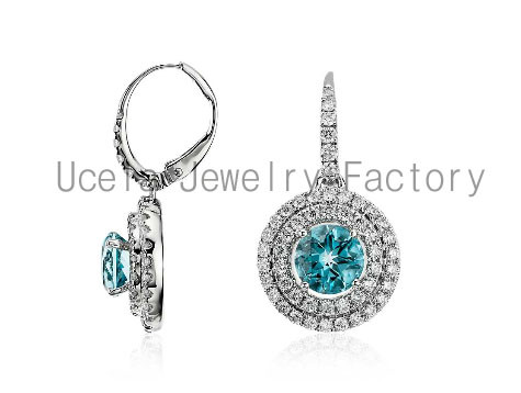 Aquamarine and Diamond Double Halo Drop Earrings 925 sterling silver bridal jewelry set