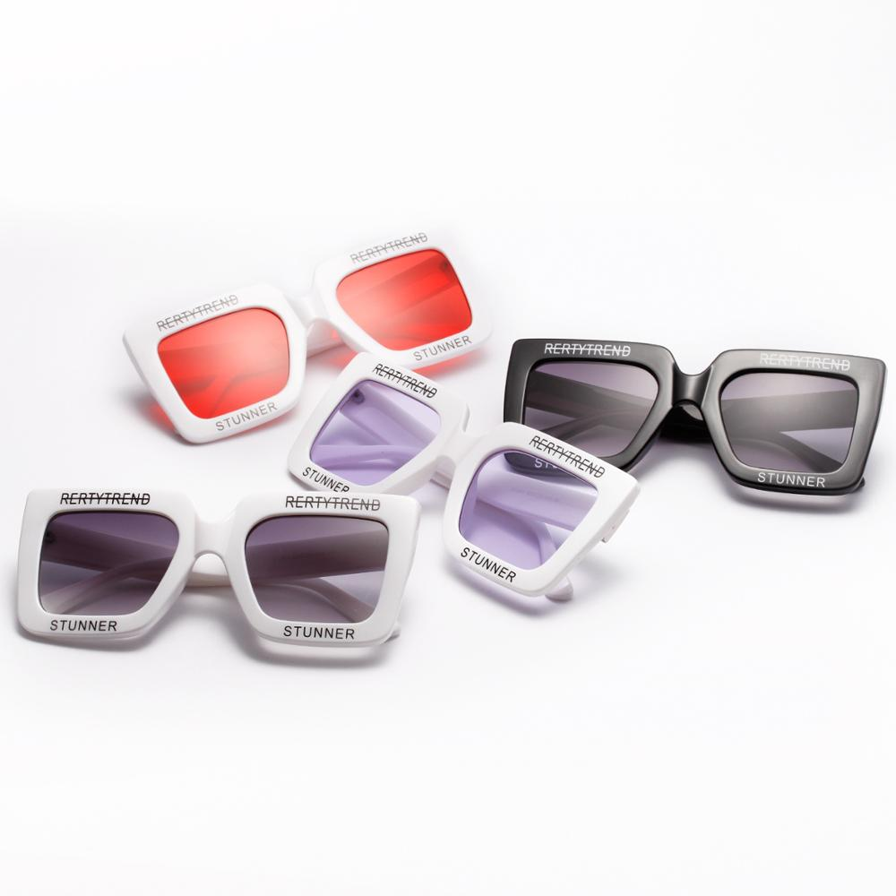 Besar PC Terbaru Fashion Berjemur Kacamata Putih Hitam Wanita Kebesaran  Kacamata Bentuk Persegi 3da68ac3b1