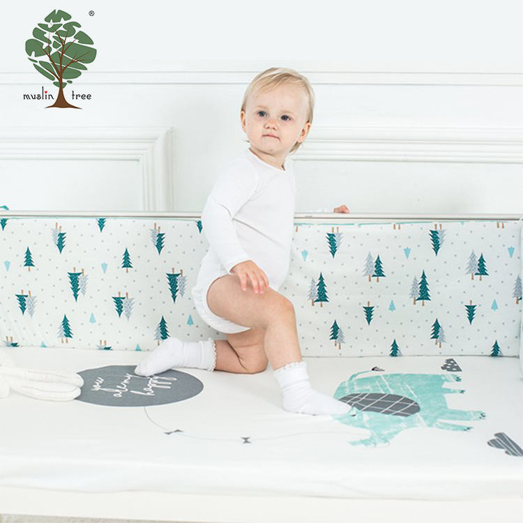 Muslin tree winter muslin bedding set 100% cotton baby fitted crib sheet