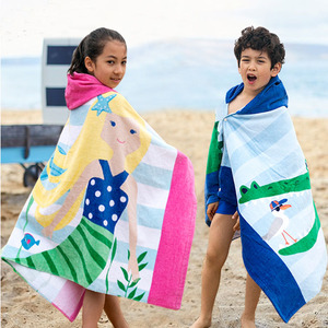 Hot Sell Cotton Kids Wholesale Hooded Poncho Beach Towel