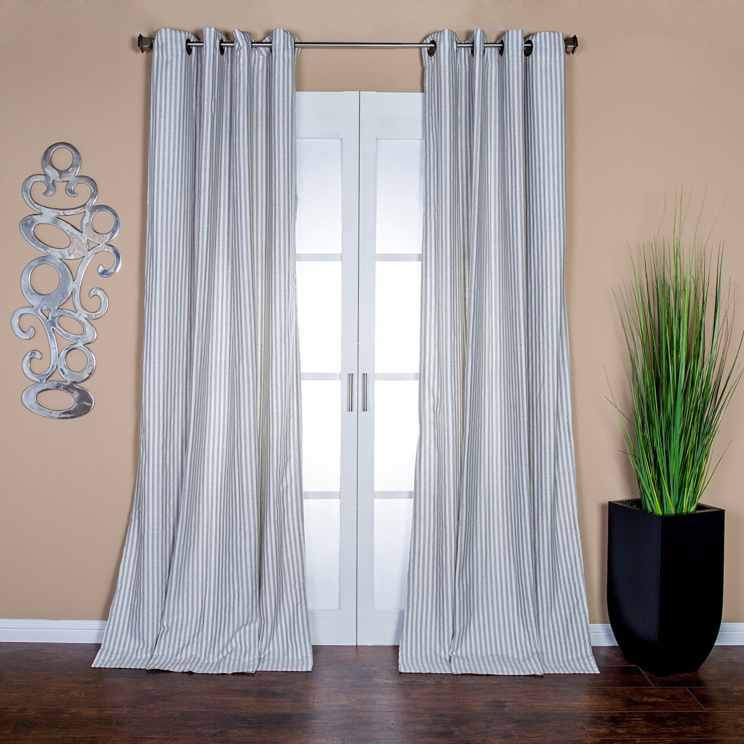 panel net curtains from leyna voile linen wave direct blue