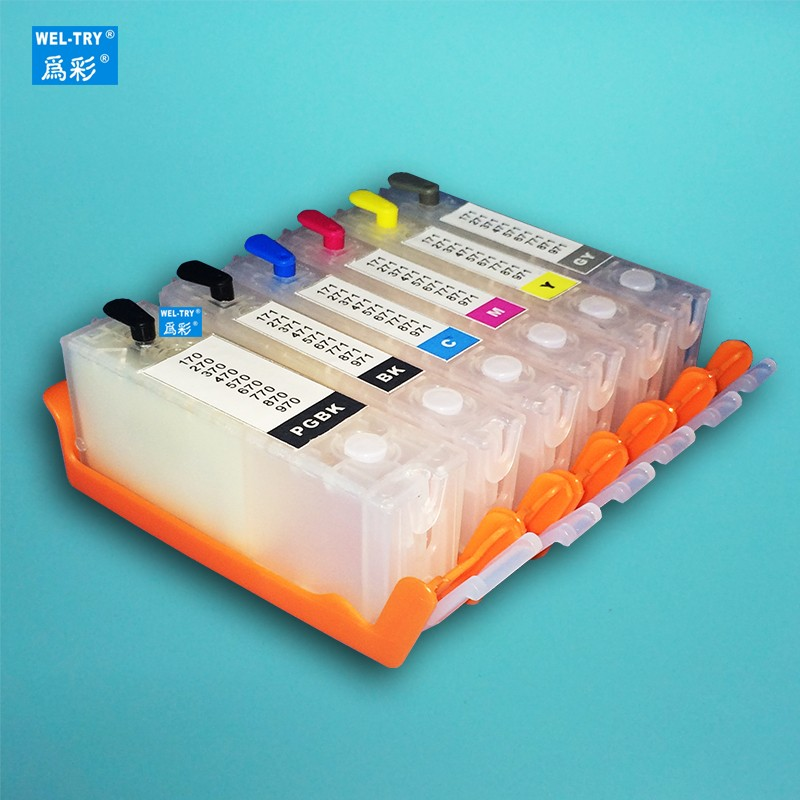 6color 670 671 PGI-670 PGBK CLI-671 refillable ink cartridge For canon PIXMA MG7760 MG7765 MG7766 MG6860 MG5760 with chip