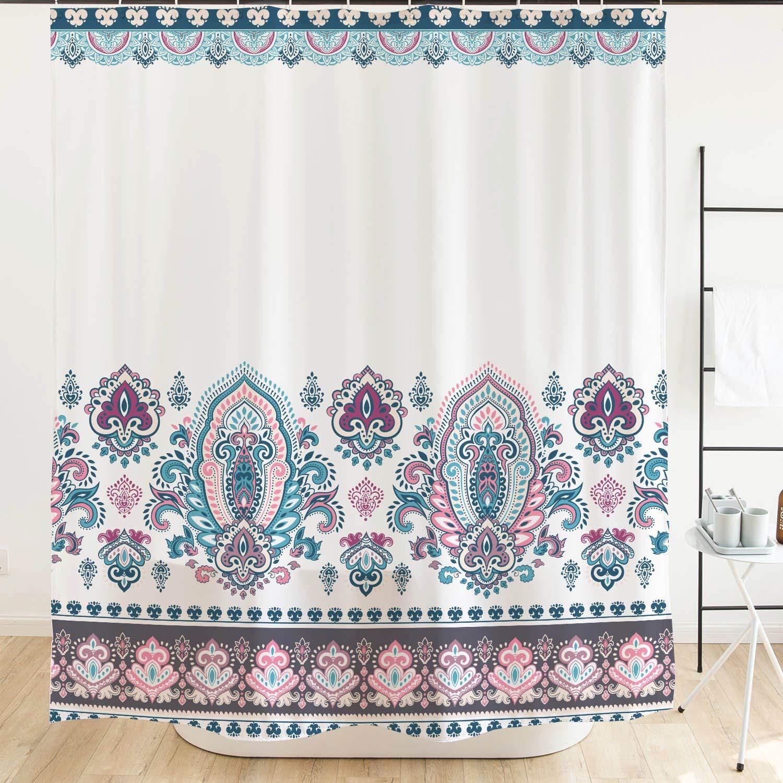 Orange Design Blue Purple Bohemia Shower Curtain for Bathroom, Boho Hippie Floral Pattern, Waterproof Mildew Resistant Fabric Decor, Turquoise 71x71 inch
