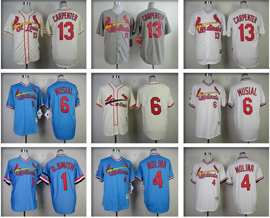 Top Qoality St.Louis Cardinals jerseys 100% Stitched #4 Yadier Molina Jersey authentic baseball #6 Stan Musial jersey Size 48-56